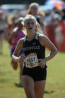 NWA Democrat-Gazette/ANDY SHUPE<br /> Bentonville Chelsea Jorgensen nears the finish line Saturday, Oct. 5, 2019, during the Chile Pepper Cross Country Festival at Agri Park in Fayetteville. Visit nwadg.com/photos to see more photographs from the races.