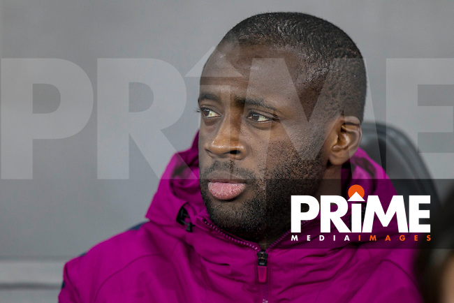 Yaya Toure of Manchester City on the bench ahead of the EPL - Premier League match between Swansea City and Manchester City at the Liberty Stadium, Swansea, Wales on 13 December 2017. Photo by Mark  Hawkins / PRiME Media Images.