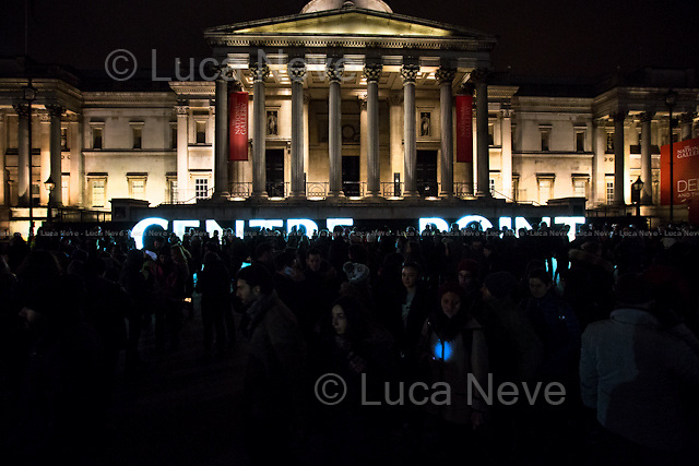 "London, 16/01/2016. Second day of the four-day festival ""Lumiere London"". From the organisers Facebook page: <<[…] Light installations by 30 leading artists will illuminate the capital's buildings and streets across 4 main areas: - King's Cross; - Mayfair; - Piccadilly, Regent Street, and St James's; - Trafalgar Square and Westminster. […]>>.<br />