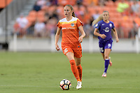Houston, TX - Saturday June 17, 2017: Janine Beckie brings the ball up the field during a regular season National Women's Soccer League (NWSL) match between the Houston Dash and the Orlando Pride at BBVA Compass Stadium.