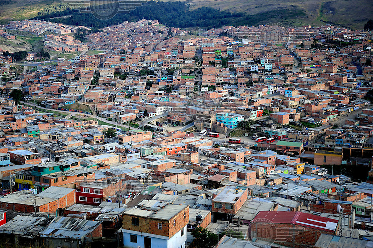 The Ciudad Bolivar area of the Soacha Slum, one of the largest in the capital containing almost 400,000 inhabitants, most of whom have been displaced by violence in other parts of Colombia.