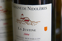 Cuvee La Justine. Domaine de Nidoleres. Roussillon. France. Europe. Bottle.