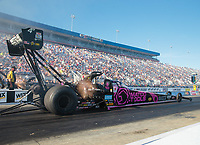 Oct 12, 2018; Concord, NC, USA; NHRA top fuel driver Antron Brown during qualifying for the Carolina Nationals at zMax Dragway. Mandatory Credit: Mark J. Rebilas-USA TODAY Sports
