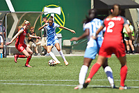 Portland, OR - Saturday August 05, 2017: Poliana Barbosa Medeiros during a regular season National Women's Soccer League (NWSL) match between the Portland Thorns FC and the Houston Dash at Providence Park.