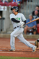 Clinton LumberKings Chris Mariscal (3) swings during the game against the Cedar Rapids Kernels at Veterans Memorial Stadium on April 14, 2016 in Cedar Rapids, Iowa.  The Kernels won 7-3.  (Dennis Hubbard/Four Seam Images)