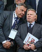England National Team Manager Sam Allardyce talks to England Assistant Coach Sammy Lee during the International EURO U21 QUALIFYING - GROUP 9 match between England U21 and Norway U21 at the Weston Homes Community Stadium, Colchester, England on 6 September 2016. Photo by Andy Rowland / PRiME Media Images.