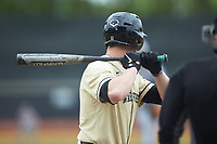 Shane Muntz (11) of the Wake Forest Demon Deacons at bat against the Miami Hurricanes at David F. Couch Ballpark on May 11, 2019 in  Winston-Salem, North Carolina. The Hurricanes defeated the Demon Deacons 8-4. (Brian Westerholt/Four Seam Images)
