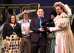The Broadway cast of 'Rodgers + Hammerstein's Cinderella' host a wedding proposal on stage at the Broadway Theatre. Alan Chau proposes to Maria Roca. Alan is a sergent in NYC's  19th police precinct and Maria works in the Department of Environmental Protection. New York City on 1/28/2013