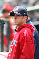 April 30th 2008:  David Pauley (30) of the Pawtucket Red Sox, Class-AAA affiliate of the Boston Red Sox, in the dugout during a game at Frontier Field  in Rochester, NY.  Photo by Mike Janes/Four Seam Images