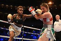 Nicola Adams (gold shorts) draws with Maria Salinas during a Boxing Show at the Royal Albert Hall on 27th September 2019