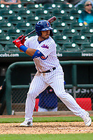 Iowa Cubs first baseman Phillip Evans (18) at bat during a Pacific Coast League game against the San Antonio Missions on May 2, 2019 at Principal Park in Des Moines, Iowa. Iowa defeated San Antonio 8-6. (Brad Krause/Four Seam Images)
