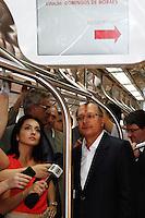 ATENÇÃO EDITOR: FOTO EMBARGADA PARA VEÍCULOS INTERNACIONAIS. SAO PAULO, SP, 19 DE SETEMBRO DE 2012.  ENTREGA DE NOVOS TRENS DA LINHA 8 DA CPTM. O governador De São Paulo, Geraldo Alckmin durante entrega de novos trens da linha 8 diamante da CPTM. Também foram anunciadas novidades nas tarifas dos trens das linhas 8 e 9 da CPTM  durante Viagem entre as estações Lapa e Osasco na manhã desta quarta feira. ADRIANA SPACA - BRAZIL PHOTO PRESS