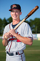 Drew Waters (12) of the Danville Braves poses for a photo prior to the game against the Burlington Royals at Burlington Athletic Stadium on August 12, 2017 in Burlington, North Carolina.  The Braves defeated the Royals 5-3.  (Brian Westerholt/Four Seam Images)