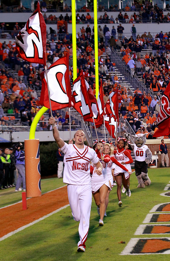 Oct. 22, 2011 - Charlottesville, Virginia - USA; North Carolina State Wolfpack cheerleaders during an NCAA football game against the Virginia Cavaliers at the Scott Stadium. NC State defeated Virginia 28-14. (Credit Image: © Andrew Shurtleff