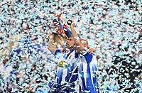 RCD Espanyol's Raul Tamudo and Ivan de la Pena after winning Spanish King's Cup final match between RCD Espanyol and Real Zaragoza at Santiago Bernabeu Stadium. Wednesday, April 12, 2006. (Alvaro Hernandez / Alterphotos / Insidefotopress)