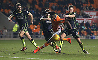 Blackpool's Armand Gnanduillet battles against Bristol Rovers' Ollie Clarke (right) and Tom Lockyer<br /> <br /> Photographer Stephen White/CameraSport<br /> <br /> The EFL Sky Bet League One - Blackpool v Bristol Rovers - Saturday 13th January 2018 - Bloomfield Road - Blackpool<br /> <br /> World Copyright &copy; 2018 CameraSport. All rights reserved. 43 Linden Ave. Countesthorpe. Leicester. England. LE8 5PG - Tel: +44 (0) 116 277 4147 - admin@camerasport.com - www.camerasport.com