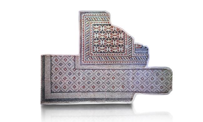 Roman geometric mosaics from Zeugma. 2nd-3rd century AD. Zeugma Mosaic Museum, Gaziantep, Turkey.  Against a white background.