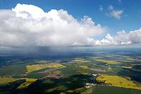 Deutschland, Mecklenburg- Vorpommern, zwischen Neustadt- Glewe und der Ostseeküste, Landschaft, Landwirtschaft, Cumulus, Schauer, Cumulus Congestus, Feld, Wald, Windkraftanlage