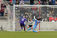 Bridgeview, IL, USA - Sunday, May 1, 2016: Orlando Pride midfielder Lianne Sanderson (10) moves toward the goal while Chicago Red Stars goalkeeper Alyssa Naeher (1) and defender Samantha Johnson (16) defend during a regular season National Women's Soccer League match between the Chicago Red Stars and the Orlando Pride at Toyota Park. Chicago won 1-0.