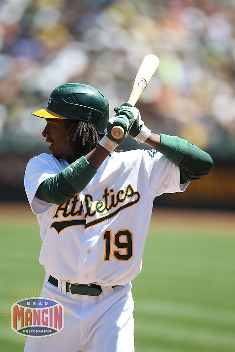 OAKLAND, CA - APRIL 22:  Jemile Weeks #19 of the Oakland Athletics bats against the Cleveland Indians during the game at O.co Coliseum on Sunday April 22, 2012 in Oakland, California. Photo by Brad Mangin