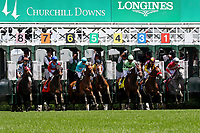 LOUISVILLE, KY - MAY 06: The field breaks from the gate at the start of the Churchill Distaff Turf Mile Stakes on Kentucky Derby Day at Churchill Downs on May 6, 2017 in Louisville, Kentucky.Roca Rojo #6, ridden by Florent Geroux, won the race. (Photo by Mary Meek/Eclipse Sportswire/Getty Images)