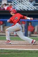 Williamsport Crosscutters outfielder Gustavo Martinez (24) during a game against the Batavia Muckdogs on September 4, 2013 at Dwyer Stadium in Batavia, New York.  Williamsport defeated Batavia 6-3 in both teams season finale.  (Mike Janes/Four Seam Images)