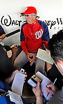 6 March 2012: Washington Nationals Manager Davey Johnson chats with the media prior to a Spring Training game against the Atlanta Braves at Champion Park in Disney's Wide World of Sports Complex, Orlando, Florida. The Nationals defeated the Braves 5-2 in Grapefruit League action. Mandatory Credit: Ed Wolfstein Photo