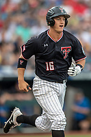 Texas Tech Red Raiders shortstop Josh Jung (16) runs to first base during Game 1 of the NCAA College World Series against the Michigan Wolverines on June 15, 2019 at TD Ameritrade Park in Omaha, Nebraska. Michigan defeated Texas Tech 5-3. (Andrew Woolley/Four Seam Images)