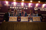 Press conference during the Mission Hills World Celebrity Pro-Am at the Haikou's Mission Hills Resort on October 21, 2012, in China's province of Hainan. Celebrity participants include Oscar-winning actor Adrien Brody, Oscar-nominated actor Andy Garcia, Canadian film and television actor Ryan Reynolds, American actress Minka Kelly and Korea's top male movie star Jeong Woo-Seong. Photo by Xaume Olleros / The Power of Sport Images for Mission Hills