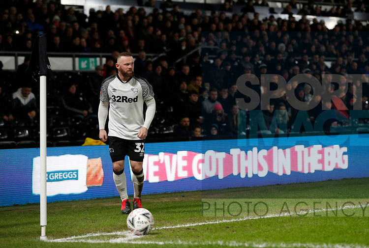 Wayne Rooney of Derby County prepares take a corner kick during the FA Cup match at the Pride Park Stadium, Derby. Picture date: 4th February 2020. Picture credit should read: Darren Staples/Sportimage