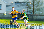 Chris O'Donoghue Kerry in action against Ciaran O'Donoghue Clare in the Munster Minor Quarter Final at Austin Stack Park Tralee on Wednesday night.
