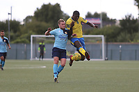 Joel Nouble of Haringey and Ted Nesbitt of Stanway  during Haringey Borough vs Stanway Rovers, Emirates FA Cup Football at Coles Park Stadium on 25th August 2018
