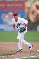 Auburn Doubledays first baseman Jake Scudder (34) during the second game of a doubleheader against the Mahoning Valley Scrappers on July 2, 2017 at Falcon Park in Auburn, New York.  Mahoning Valley defeated Auburn 3-2.  (Mike Janes/Four Seam Images)