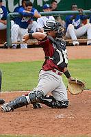 Idaho Falls Chukars catcher Alex Marquez #31 on defense against the Ogden Raptors at Lindquist Field on June 23, 2013 in Ogden, Utah. (Stephen Smith/Four Seam Images)