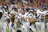 Dec 6, 2009; Glendale, AZ, USA; Minnesota Vikings quarterback (4) Brett Favre in the huddle against the Arizona Cardinals at University of Phoenix Stadium. The Cardinals defeated the Vikings 30-17. Mandatory Credit: Mark J. Rebilas-