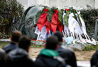 Pictured: tributes left at the monument for the uprising at the Athens Polytechinc in Athens Greece. Wednesday 16 November 2016<br /> Re: 43rd anniversary of the Athens Polytechnic uprising of 1973 which was a massive demonstration of popular rejection of the Greek military junta of 1967–1974. The uprising began on November 14, 1973, escalated to an open anti-junta revolt and ended in bloodshed in the early morning of November 17 after a series of events starting with a tank crashing through the gates of the Polytechnic.