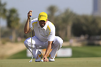 Sergio Garcia (ESP) lines up his putt on the 5th green during Friday's Round 3 of the Commercial Bank Qatar Masters 2013 at Doha Golf Club, Doha, Qatar 25th January 2013 .Photo Eoin Clarke/www.golffile.ie