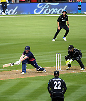 England captain Eoin Morgan plays a reverse sweep during the One Day International between the New Zealand Black Caps and England at the Westpac Stadium in Wellington, New Zealand on Friday, 2 March 2018. Photo: Dave Lintott / lintottphoto.co.nz