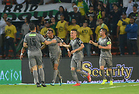 MEDELLIN - COLOMBIA, 17-02-2019: Carlos Peralta (Izq) de Equidad celebra después el primer gol de su equipo durante partido por la fecha 5 de la Liga Águila I 2019 entre Atlético Nacional y La Equidad jugado en el estadio Atanasio Girardot de la ciudad de Medellín. / Carlos Peralta (L) of Equidad celebrates after scoring the first goal of his team during match for the date 5 of the Liga Aguila I 2019 between Atletico Nacional and La Equidad played at the Atanasio Girardot Stadium in Medellin city. Photo: VizzorImage / Leon Monsalve / Cont
