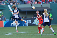 Portland, OR - Saturday July 22, 2017: Arielle Ship, Emily Sonnett during a regular season National Women's Soccer League (NWSL) match between the Portland Thorns FC and the Washington Spirit at Providence Park.