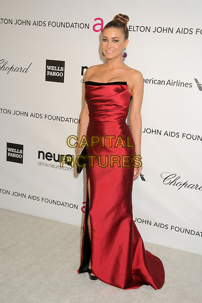 Carmen Electra.21st Annual Elton John Academy Awards Viewing Party held at West Hollywood Park, West Hollywood, California, USA..February 24th, 2013.oscars full length red strapless silk satin dress black clutch bag hair up bun .CAP/ADM/BP.©Byron Purvis/AdMedia/Capital Pictures.