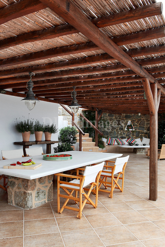 cycladic outdoor dining room