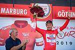 Alexander Kristoff (NOR) UAE Team Emirates wins Stage 2 and also takes over the race leaders Red Jersey of the Deutschland Tour 2019, running 202km from Marburg to Gottingen, Germany. 30th August 2019.<br /> Picture: ASO/Marcel Hilger | Cyclefile<br /> All photos usage must carry mandatory copyright credit (© Cyclefile | ASO/Marcel Hilger)