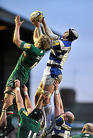 Dave Attwood competes with Jamie Gibson for the ball at a lineout. Aviva Premiership match, between Leicester Tigers and Bath Rugby on January 5, 2014 at Welford Road in Leicester, England. Photo by: Patrick Khachfe / Onside Images