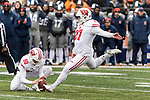 Wisconsin Badgers kicker Rafael Gaglianone kicks a 52 yard field goal during an NCAA College Big Ten Conference football game against the Illinois Fighting Illini Saturday, October 28, 2017, in Champaign, Illinois. The Badgers won 24-10. (Photo by David Stluka)