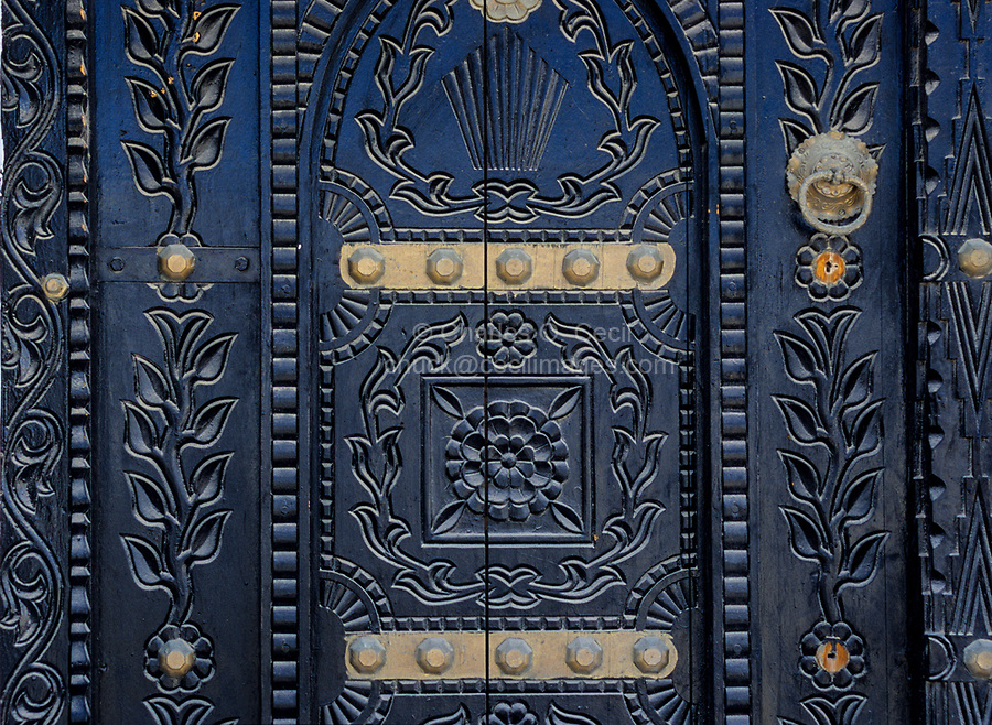 Sur, Oman.  Carved, Decorated Door to a House.