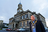 Pictured: Mayor Jeff Edmunds outside the Town Hall in Llanelli. Wednesday 09 March 2018<br /> Re: The effect that the Scarlets RFC has had in the town of Llanelli in Carmarthenshire and the west Wales region.