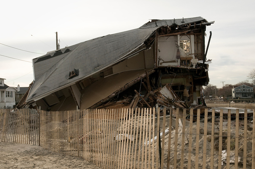 Destroyed by Hurricane Sandy house on the main street of Sea Bright, NY.