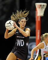 28.07.2015 Silver Ferns Kayla Cullen in action during the Silver Fern v South Africa netball test match played at Trusts Arena in Auckland. Mandatory Photo Credit ©Michael Bradley.