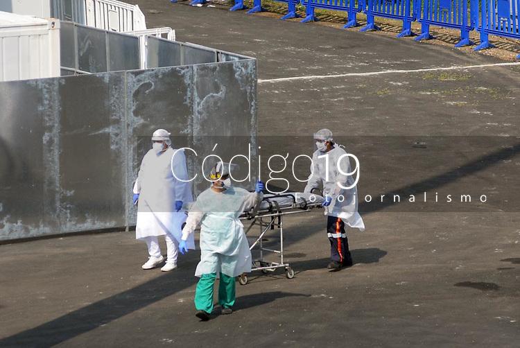 Rio de Janeiro (RJ), 18/05/2020 - Covid-19-Rio - Movimentação no hospital de campanha do Maracanã do governo do estado na zona norte do Rio de Janeiro nesta segunda-feira (18).